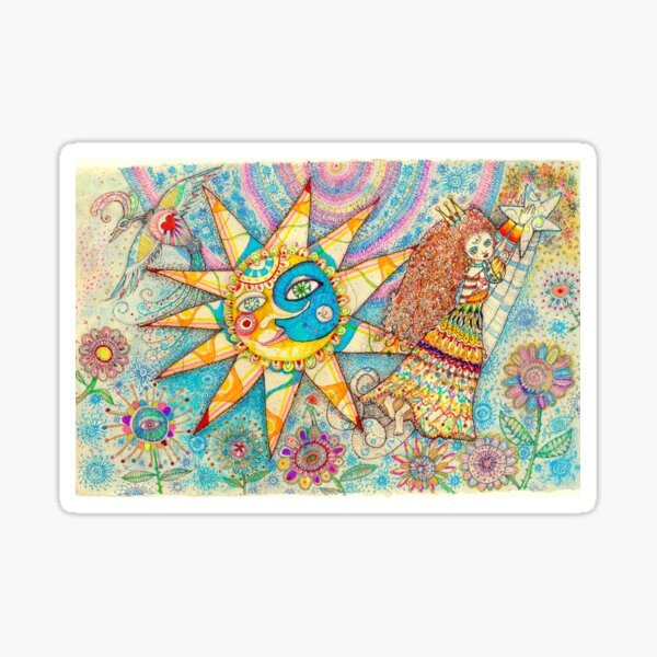 The Lady, The Sun and The Shooting Star Sticker