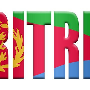 Eritrean flag word overlaid with the colours of the flag by stuwdamdorp