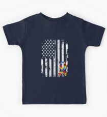 Autism Puzzle Ribbon Shirts American Flag Distressed Shirt Kids Tee
