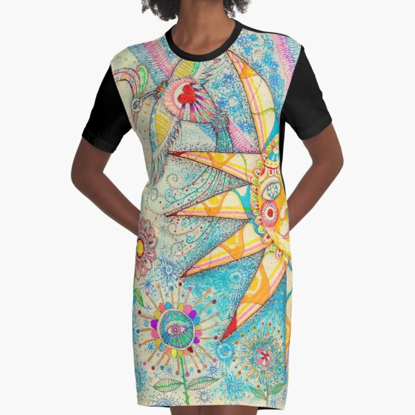 The Lady, The Sun and The Shooting Star Graphic T-Shirt Dress