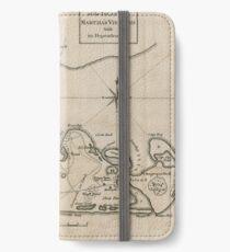 Vintage Map of Martha's Vineyard (1782) iPhone Wallet/Case/Skin