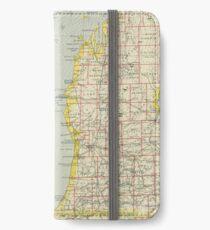 Vintage Map of Lake Michigan (1883) iPhone Wallet/Case/Skin