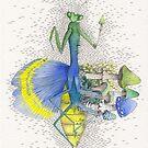 What is life? What is Death? n°10 Mantis / Mushroom Watercolor Painting by Stephanie KILGAST