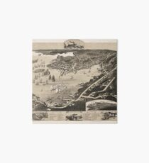 Vintage Pictorial Map of Boothbay Harbor ME (1885) Art Board