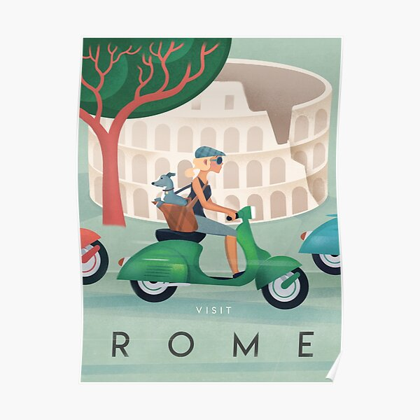 Rome Italy Iron On Travel STICKER Vespa and Colosseum