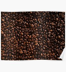 Rich Roasted Coffee Beans Textured Pattern Poster