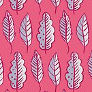Pink Leaves Abstract Decorative Pattern by Boriana Giormova