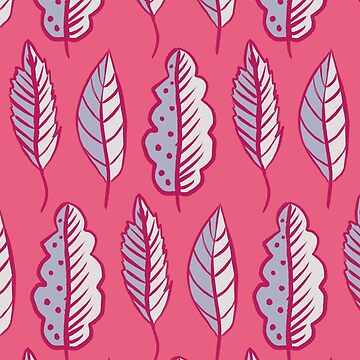 Pink Leaves Abstract Decorative Pattern by azzza