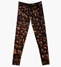 Rich Roasted Coffee Beans Textured Pattern Leggings