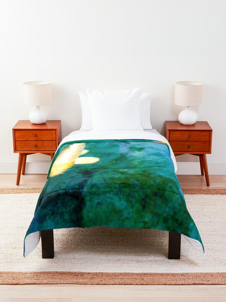 Alternate view of Turquoise Waters Yellow and Orange Koi Fish Zen Nature Photograph  Comforter