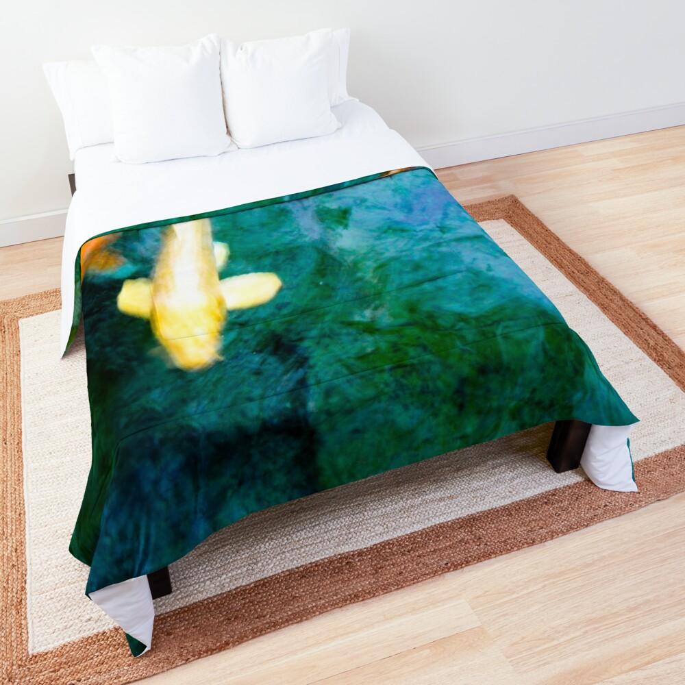 Turquoise Waters Yellow and Orange Koi Fish Zen Nature Photograph  Comforter