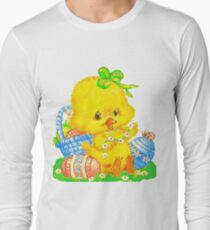Vintage Cute Easter Duckling and Easter Egg Long Sleeve T-Shirt
