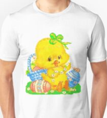 Vintage Cute Easter Duckling and Easter Egg Unisex T-Shirt