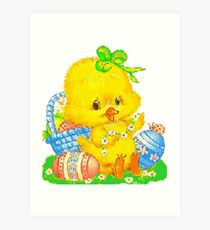 Vintage Cute Easter Duckling and Easter Egg Art Print