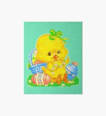 Vintage Cute Easter Duckling and Easter Egg Art Board