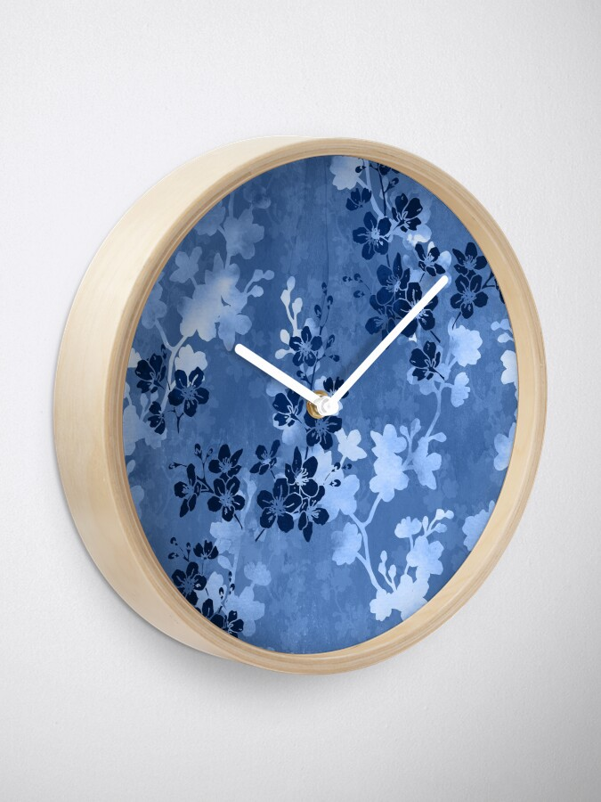 Alternate view of Sakura blossom in blue Clock