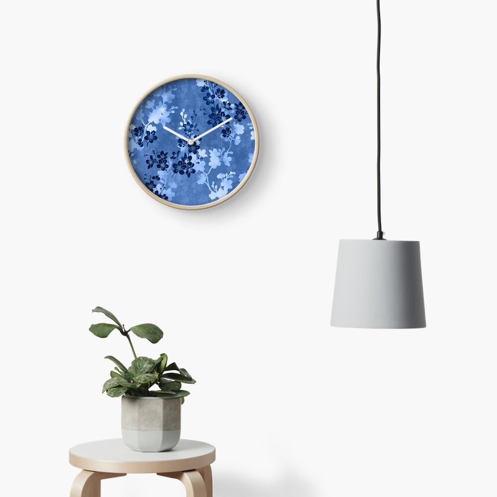 Sakura blossom in blue Clock