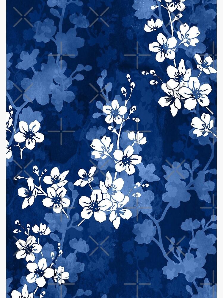 Flor de Sakura en azul profundo de adenaJ
