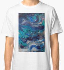 blue painting fluid art acrylic hand made Classic T-Shirt