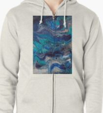 blue painting fluid art acrylic hand made Zipped Hoodie