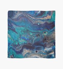 blue painting fluid art acrylic hand made Scarf