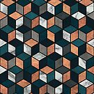 Copper, Marble and Concrete Cubes with Blue by Zoltan Ratko