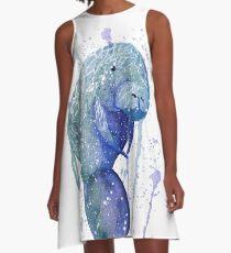 Watercolor Manatee  A-Line Dress