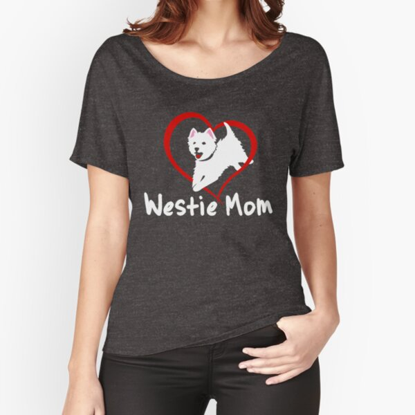 Westie Mom   Jumping West Highland White Terrier   NickerStickers Custom Designs Relaxed Fit T-Shirt