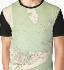 Vintage Map of Galveston TX Fortifications (1895) Graphic T-Shirt