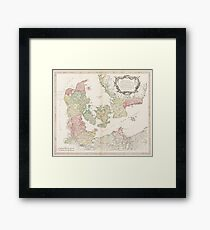 Vintage Map of Denmark (1750) Framed Print
