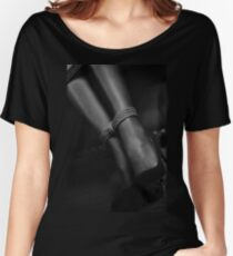 Artistic black and white of sexy woman ankles tied up with a bondage rope art photo print Women's Relaxed Fit T-Shirt