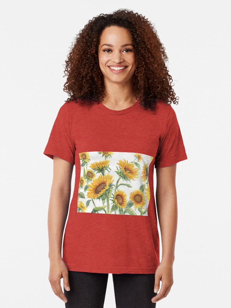 Alternate view of Blooming Sunflowers Tri-blend T-Shirt