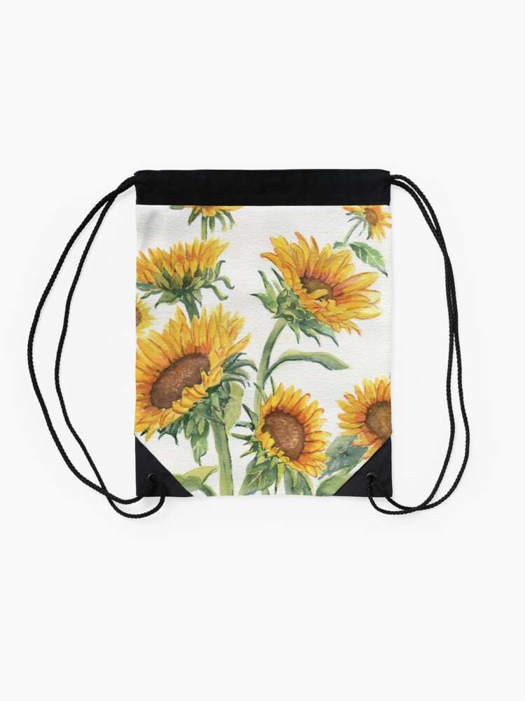 Alternate view of Blooming Sunflowers Drawstring Bag