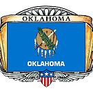 Oklahoma Art Deco Design with Flag by Cleave