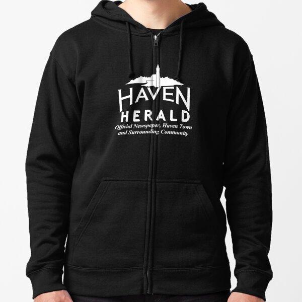 Haven Herald News White Logo Zipped Hoodie