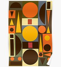 Mid Century Atomic Shapes Poster
