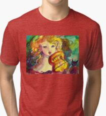 VIOLINIST GIRL ,VIOLIN  AND CAT  Tri-blend T-Shirt