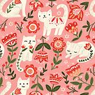 Folk Cat Pattern by Olivia Gibbs
