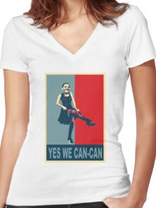Yes we Can-Can Women's Fitted V-Neck T-Shirt
