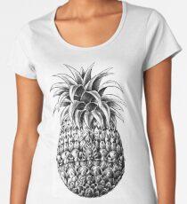 Camiseta premium de cuello ancho Piña adornada