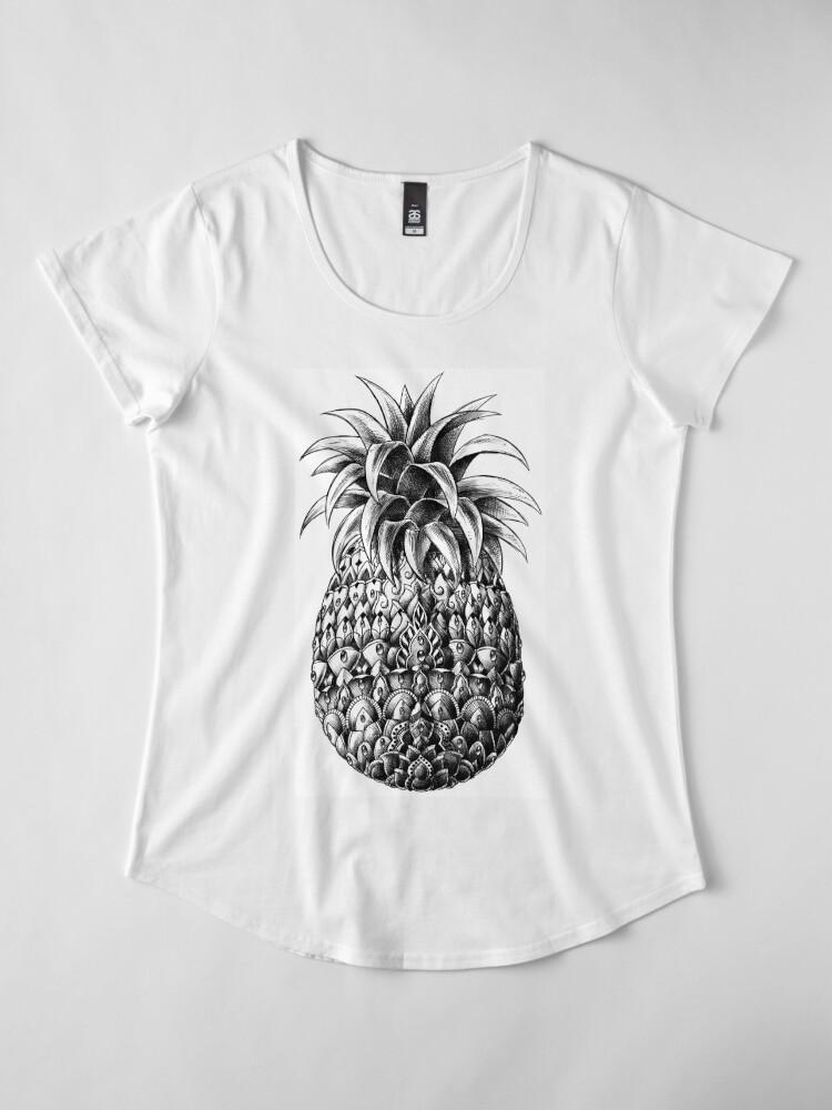 Vista alternativa de Camiseta premium de cuello ancho Piña adornada