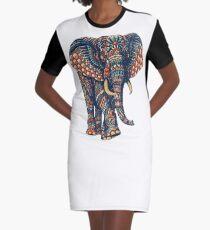 Ornate Elephant v2 (Color Version) Graphic T-Shirt Dress