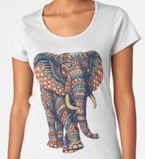 Camiseta premium de cuello ancho Ornate Elephant v2 (Versión en color)