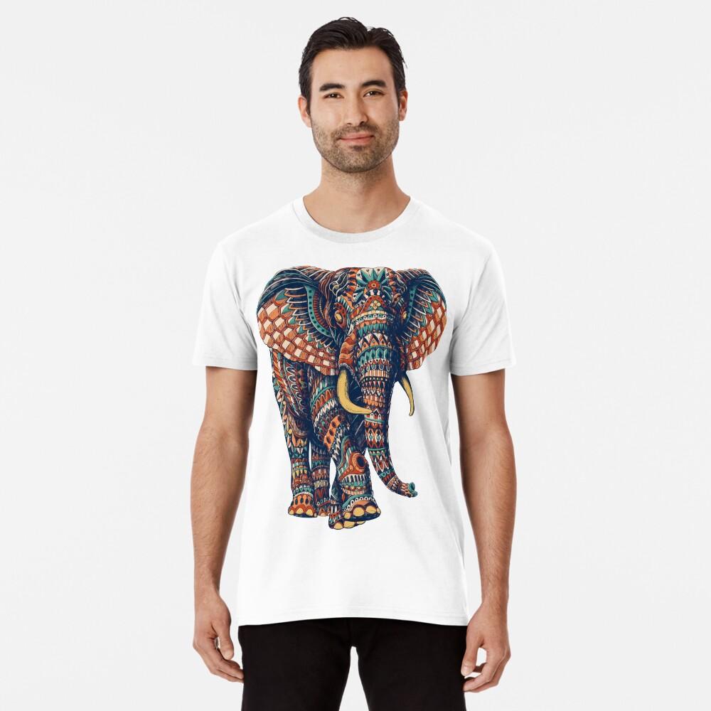 Verzierter Elefant v2 (Farbversion) Männer Premium T-Shirt Vorne