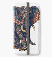 Verzierter Elefant v2 (Farbversion) iPhone Flip-Case/Hülle/Skin