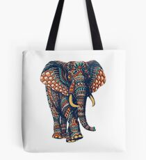 Bolsa de tela Ornate Elephant v2 (Versión en color)