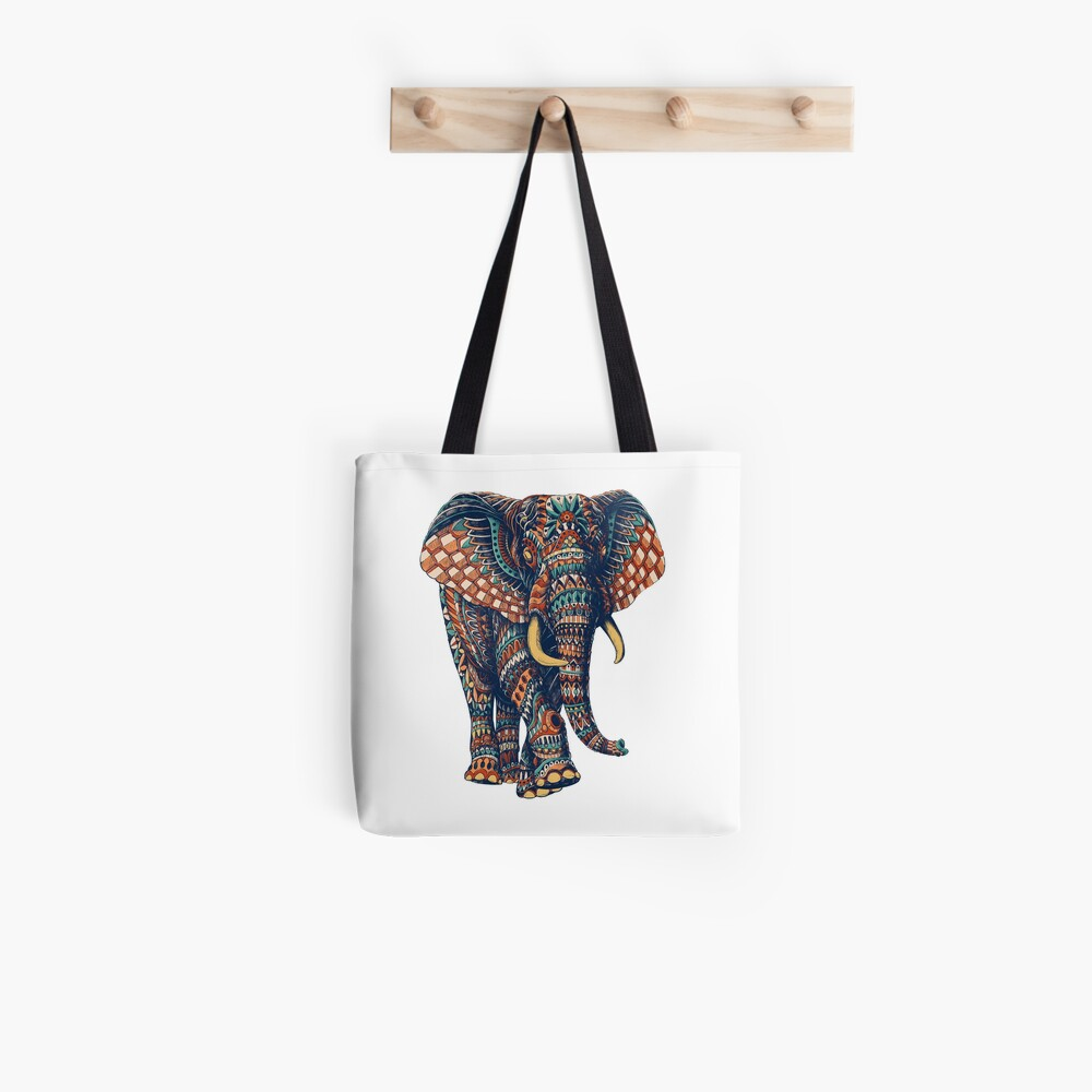 Ornate Elephant v2 (Color Version) Tote Bag
