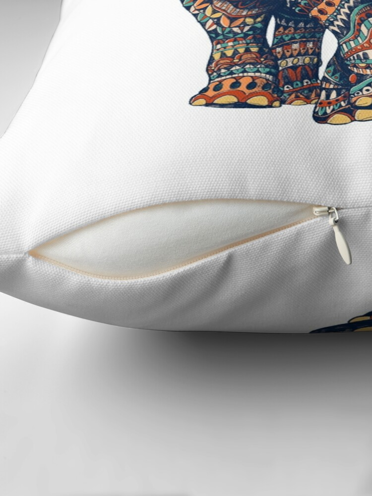 Alternate view of Ornate Elephant v2 (Color Version) Throw Pillow