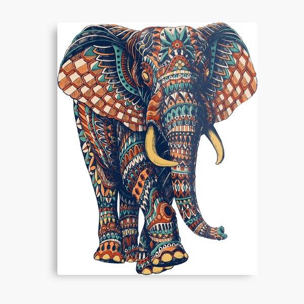 Ornate Elephant v2 (Color Version) Metal Print