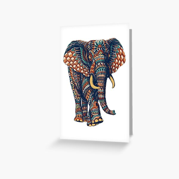 Ornate Elephant v2 (Color Version) Greeting Card